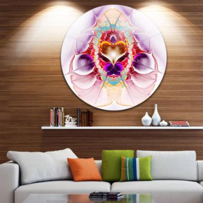 Designart Pink Large Symmetrical Fractal Heart Abstract Metal Circle Wall Art