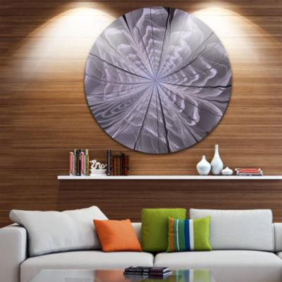 Designart Symmetrical Violet Digital Fractal Flower Floral Metal Circle Wall Art