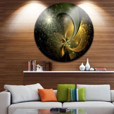 Designart Golden Fractal Flower with Silver StarFloral Metal Circle Wall Art