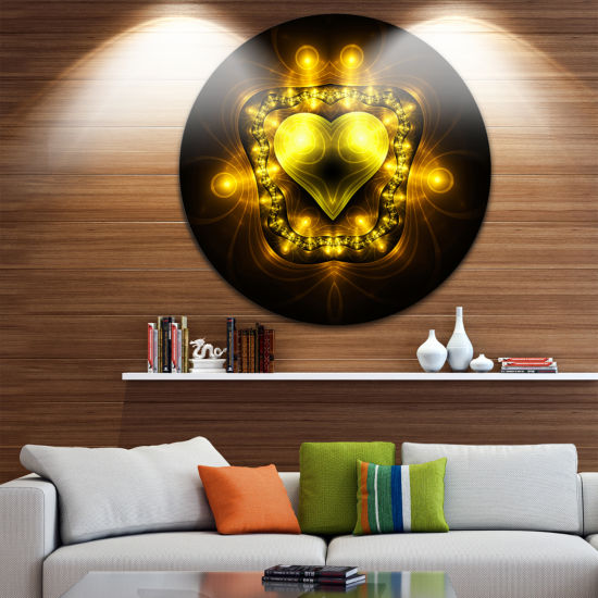 Designart Bright Yellow in Black Fractal Flower Large Abstract Metal Artwork