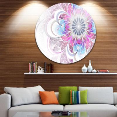 Designart Purple and Blue Large Flower Fractal Floral Metal Circle Wall Art
