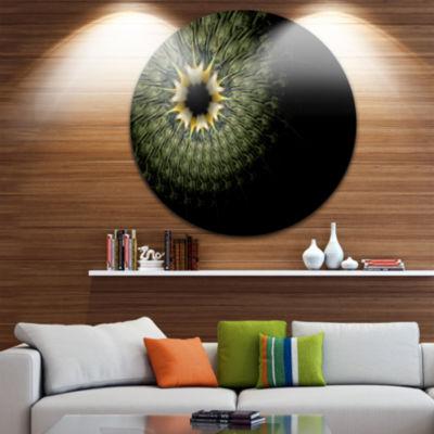 Designart Symmetrical Fractal Flower in Light Green Floral Metal Circle Wall Art
