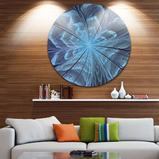 Designart Soft Blue Fractal Flower with Large Petals Floral Metal Circle Wall Art