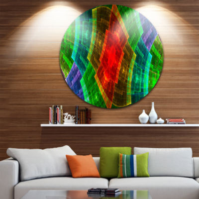 Designart Colorful Psychedelic Fractal Metal GridAbstract Metal Circle Wall Art