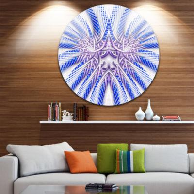 Designart Light Blue Unique Fractal Flower DesignLarge Abstract Metal Artwork