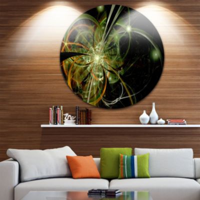 Designart Soft Yellow Fractal Flower Design FloralMetal Circle Wall Art