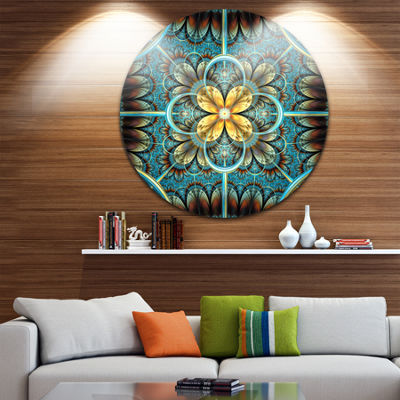 Designart Blue and Yellow Large Fractal Flower Design Floral Metal Circle Wall Art