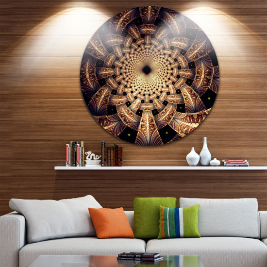 Designart Brown Symmetrical Fractal Flower DesignFloral Metal Circle Wall Art