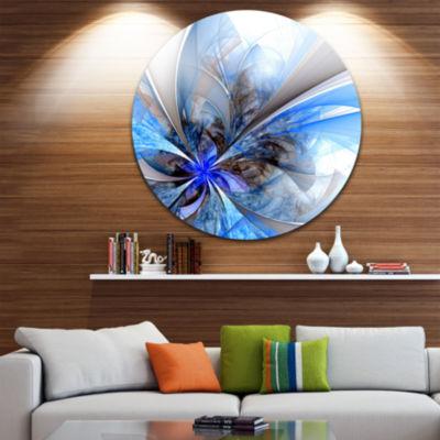 Designart Symmetrical Large Blue Fractal Flower Floral Metal Circle Wall Art
