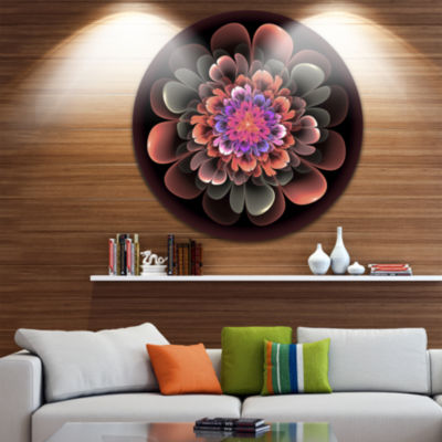 Designart Perfect Fractal Flower in Dark Brown Floral Metal Circle Wall Art