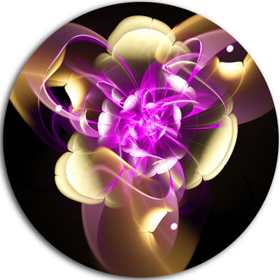 Designart Purple and Golden Fractal Flower DesignAbstract Metal Circle Wall Art