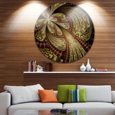 Designart Symmetrical Brown Red Fractal Flower Floral Metal Circle Wall Art