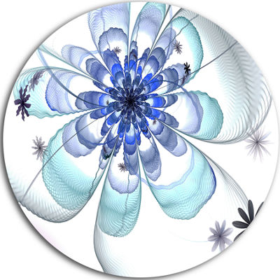Designart Light Blue Large Fractal Flower Floral Metal Circle Wall Art
