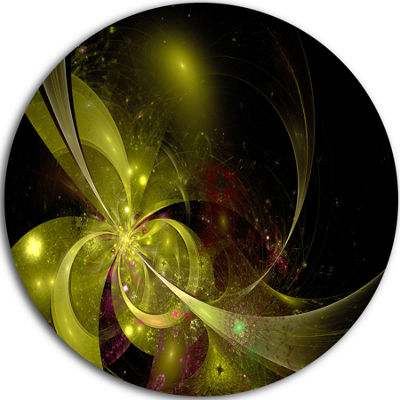 Designart Symmetrical Soft Gold Fractal Flower Floral Metal Circle Wall Art