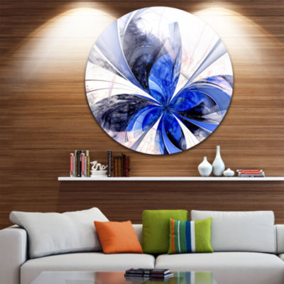 Designart Symmetrical Bright Blue Fractal FlowerFloral Metal Circle Wall Art
