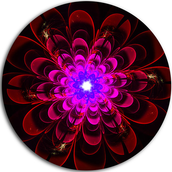 Design Art Perfect Shiny Fractal Flower in MagentaFloral Metal Circle Wall Art