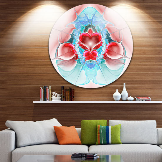 Designart Cold Extraterrestrial Fractal Heart RedFloral Metal Circle Wall Art