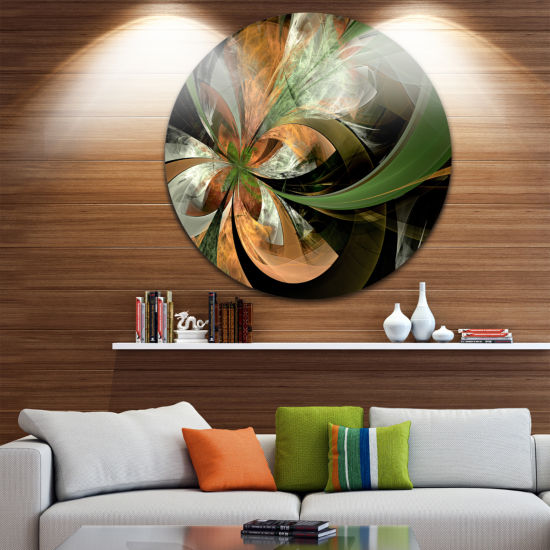 Designart Orange and Green Large Fractal Flower Floral Metal Circle Wall Art