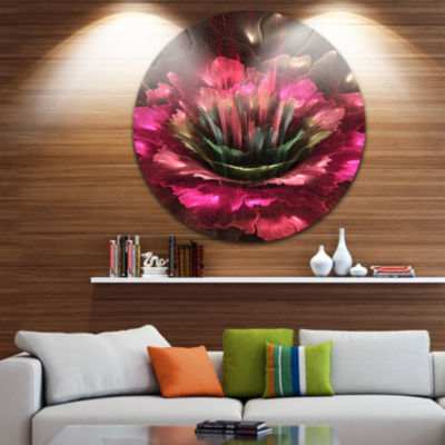 Designart Perfect Fractal Flower in Bright Red Floral Metal Circle Wall Art