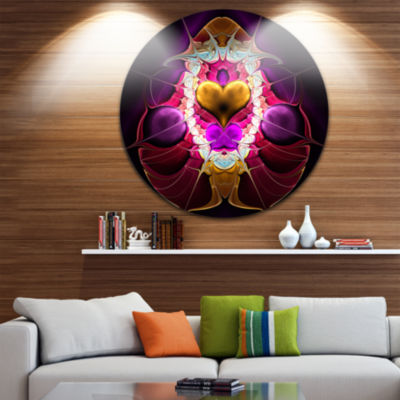 Designart Large Pink Symmetrical Fractal HeartAbstract Metal Circle Wall Art