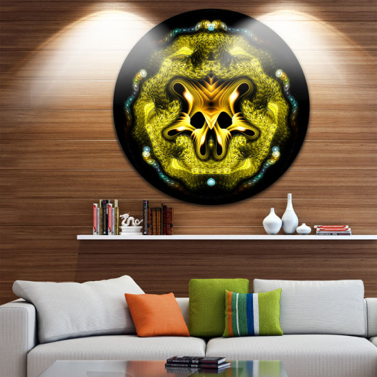 Designart Large Gold Symmetrical Fractal HeartAbstract Metal Circle Wall Art