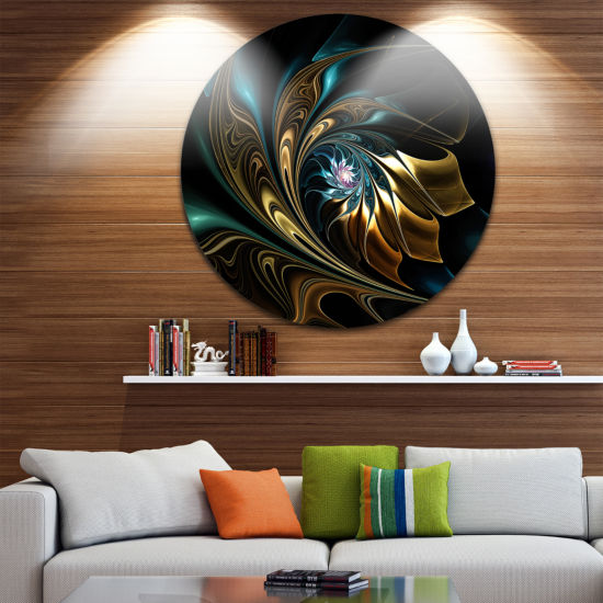 Designart Brown Blue Fractal Flower in Black Oversized Abstract Metal Art