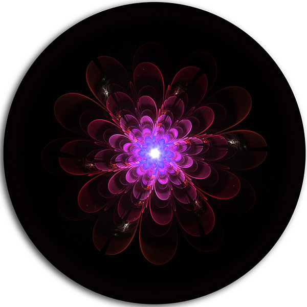 Designart Glowing Fractal Flower Pink on Black Floral Metal Circle Wall Art