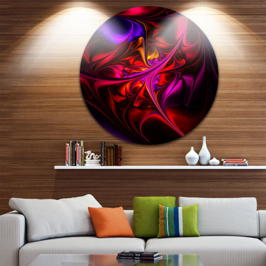 Designart Multi Colored Magenta Stained Glass Floral Metal Circle Wall Art