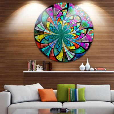 Designart Multi Color Large Fractal Flower PatternFloral Metal Circle Wall Art