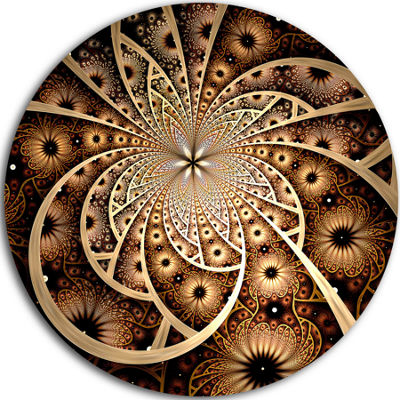 Designart Symmetrical Brown Black Fractal FlowerFloral Metal Circle Wall Art