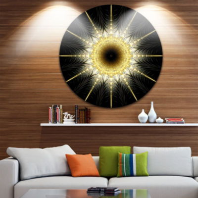 Designart Bright Yellow Rounded Fractal Flower Floral Metal Circle Wall Art