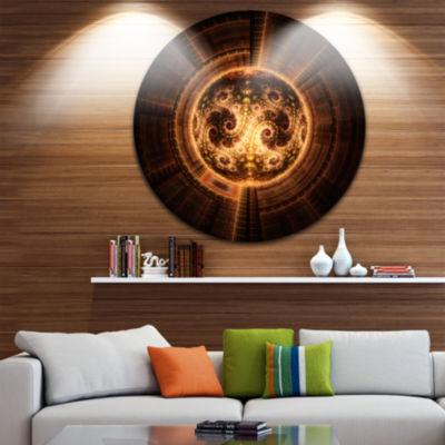 Designart Rounded Orange Glowing Fractal Flower Large Abstract Metal Artwork