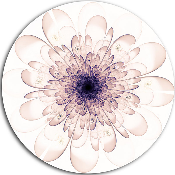 Designart Perfect Glowing Fractal Flower in PurpleFloral Metal Circle Wall Art