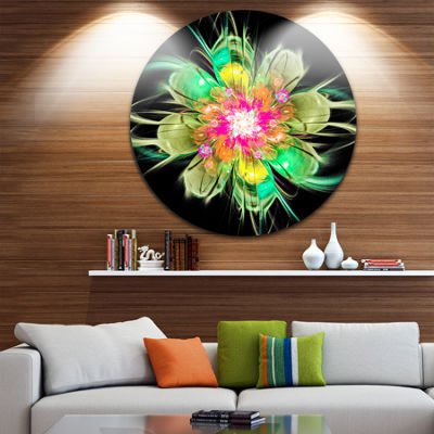 Designart Ideal Fractal Flower Digital Art in Green Floral Metal Circle Wall Art