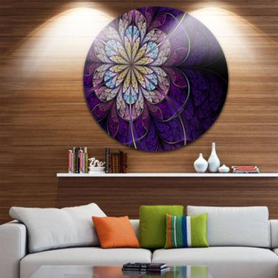 Designart Blue and Pink Large Fractal Flower Floral Metal Circle Wall Art