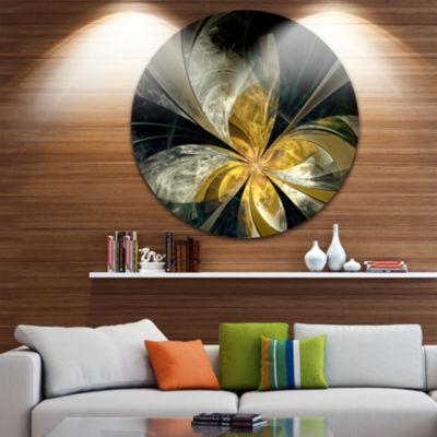 Designart Symmetrical White Gold Fractal Flower Floral Metal Circle Wall Art