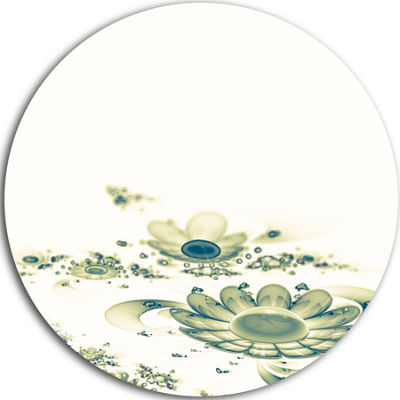 Designart Ideal Abstract Blue Fractal Flowers Floral Metal Circle Wall Art
