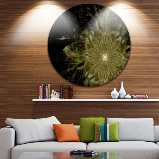 Designart Light Brown Symmetrical Fractal FlowerFloral Metal Circle Wall Art
