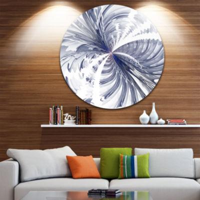 Designart Symmetrical Blue Fractal Flower Floral Metal Circle Wall Art