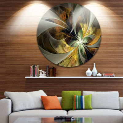 Designart Symmetrical Gold Fractal Flower Floral Metal Circle Wall Art