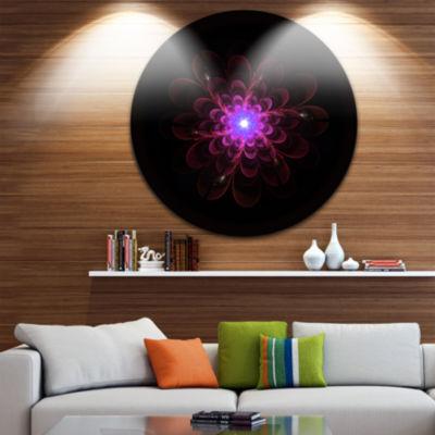 Designart Glowing Fractal Flower Pink on Black Floral Metal Circle Wall Art