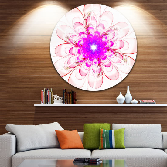 Designart Perfect Fractal Flower in Light Pink Floral Metal Circle Wall Art