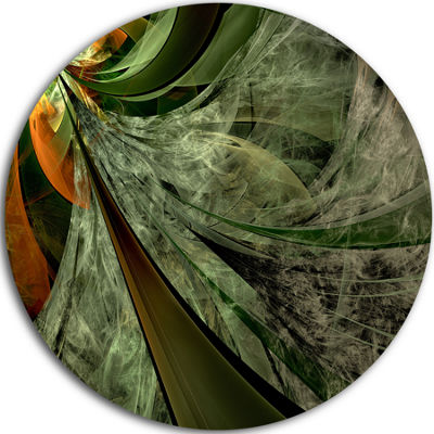 Designart Green and Yellow Glossy Fractal FlowerFloral Metal Circle Wall Art