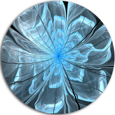 Designart Light Blue Flower with Large Petals Floral Metal Circle Wall Art