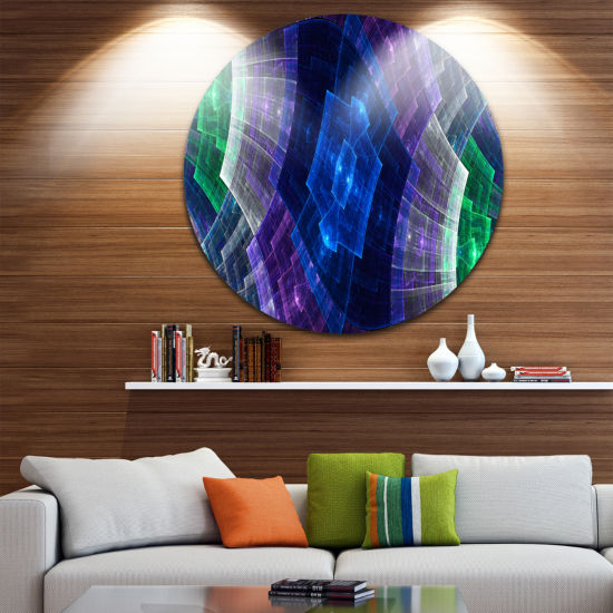 Designart Bright Blue and Green Flower GridAbstract Metal Circle Wall Art
