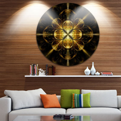 Designart Gold Symmetrical Large Fractal Flower Floral Metal Circle Wall Art
