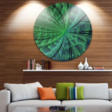 Designart Symmetrical Soft Green Fractal Flower Floral Metal Circle Wall Art