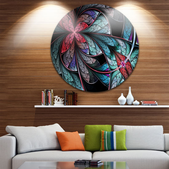 Designart Turquoise and Red Fractal Flower PatternFloral Metal Circle Wall Art