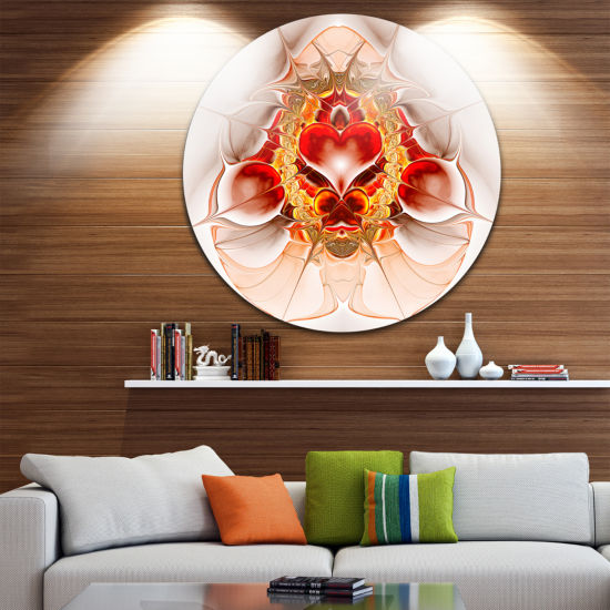 Designart Large Red Symmetrical Fractal HeartAbstract Metal Circle Wall Art
