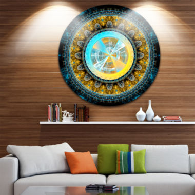 Designart Large Rounded Symmetrical Flower YellowAbstract Metal Circle Wall Art